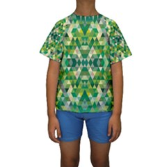 Forest Abstract Geometry Background Kids  Short Sleeve Swimwear