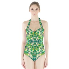 Forest Abstract Geometry Background Halter Swimsuit