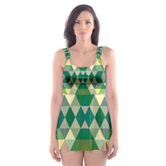 Forest Abstract Geometry Background Skater Dress Swimsuit