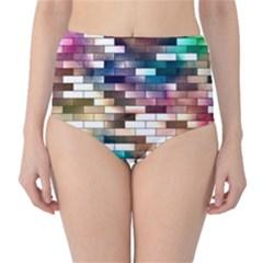 Background Wall Art Abstract High Waist Bikini Bottoms