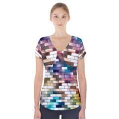 Background Wall Art Abstract Short Sleeve Front Detail Top