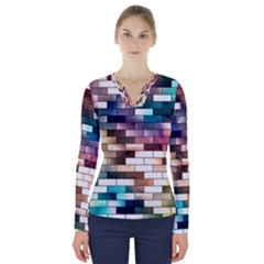 Background Wall Art Abstract V Neck Long Sleeve Top