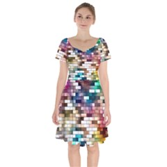 Background Wall Art Abstract Short Sleeve Bardot Dress
