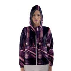 Texture Abstract Background City Hooded Wind Breaker (women)