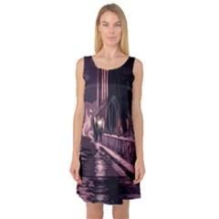 Texture Abstract Background City Sleeveless Satin Nightdress