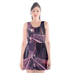 Texture Abstract Background City Scoop Neck Skater Dress