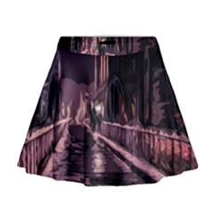 Texture Abstract Background City Mini Flare Skirt