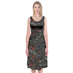 Rock Volcanic Hot Lava Burn Boil Midi Sleeveless Dress