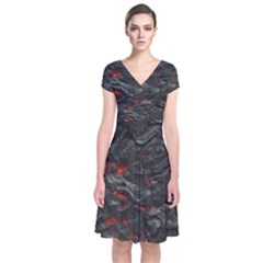 Rock Volcanic Hot Lava Burn Boil Short Sleeve Front Wrap Dress