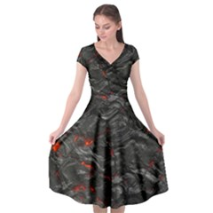 Rock Volcanic Hot Lava Burn Boil Cap Sleeve Wrap Front Dress