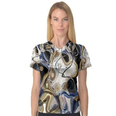 Time Abstract Dali Symbol Warp V Neck Sport Mesh Tee