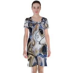 Time Abstract Dali Symbol Warp Short Sleeve Nightdress