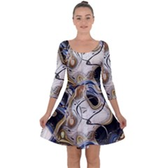 Time Abstract Dali Symbol Warp Quarter Sleeve Skater Dress