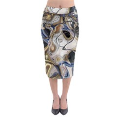 Time Abstract Dali Symbol Warp Midi Pencil Skirt