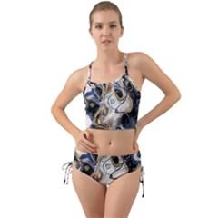 Time Abstract Dali Symbol Warp Mini Tank Bikini Set