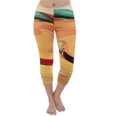 Spiral Abstract Colorful Edited Capri Winter Leggings