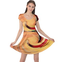 Spiral Abstract Colorful Edited Cap Sleeve Dress