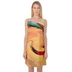 Spiral Abstract Colorful Edited Sleeveless Satin Nightdress
