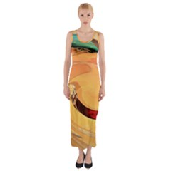 Spiral Abstract Colorful Edited Fitted Maxi Dress