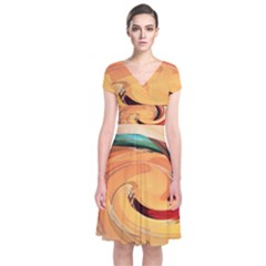 Spiral Abstract Colorful Edited Short Sleeve Front Wrap Dress