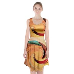 Spiral Abstract Colorful Edited Racerback Midi Dress