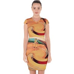 Spiral Abstract Colorful Edited Capsleeve Drawstring Dress