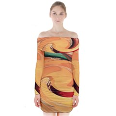 Spiral Abstract Colorful Edited Long Sleeve Off Shoulder Dress
