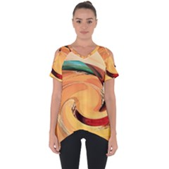 Spiral Abstract Colorful Edited Cut Out Side Drop Tee