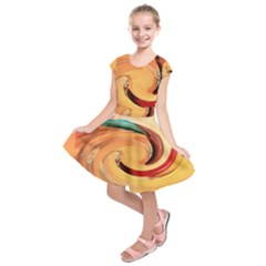 Spiral Abstract Colorful Edited Kids  Short Sleeve Dress