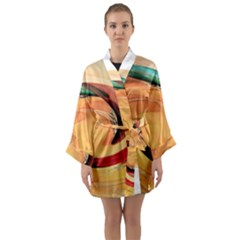 Spiral Abstract Colorful Edited Long Sleeve Kimono Robe