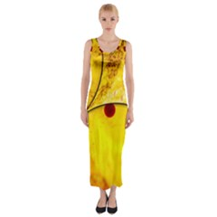 Abstract Water Oil Macro Fitted Maxi Dress