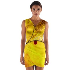 Abstract Water Oil Macro Wrap Front Bodycon Dress