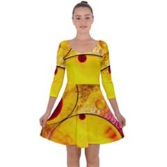 Abstract Water Oil Macro Quarter Sleeve Skater Dress