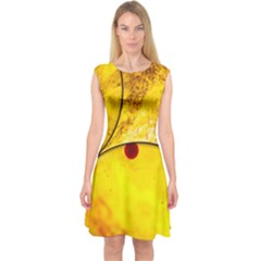 Abstract Water Oil Macro Capsleeve Midi Dress