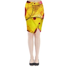 Abstract Water Oil Macro Midi Wrap Pencil Skirt