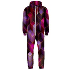 Cube Surface Texture Background Hooded Jumpsuit (men)
