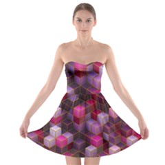 Cube Surface Texture Background Strapless Bra Top Dress