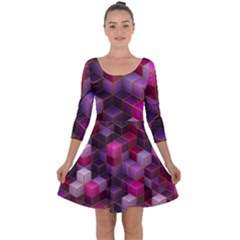 Cube Surface Texture Background Quarter Sleeve Skater Dress