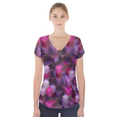 Cube Surface Texture Background Short Sleeve Front Detail Top
