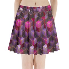 Cube Surface Texture Background Pleated Mini Skirt