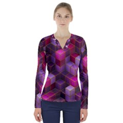 Cube Surface Texture Background V Neck Long Sleeve Top
