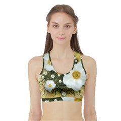 Summer Anemone Sylvestris Sports Bra With Border