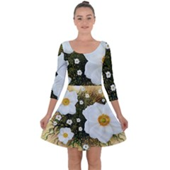 Summer Anemone Sylvestris Quarter Sleeve Skater Dress