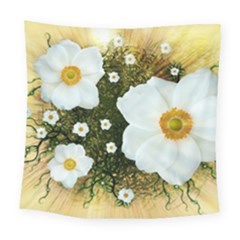 Summer Anemone Sylvestris Square Tapestry (large) by Nexatart