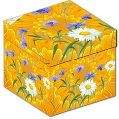 Flowers Daisy Floral Yellow Blue Storage Stool 12