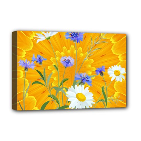 Flowers Daisy Floral Yellow Blue Deluxe Canvas 18  X 12   by Nexatart