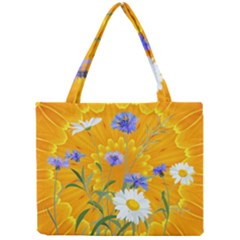 Flowers Daisy Floral Yellow Blue Mini Tote Bag