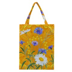 Flowers Daisy Floral Yellow Blue Classic Tote Bag