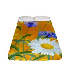 Flowers Daisy Floral Yellow Blue Fitted Sheet (full/ Double Size)
