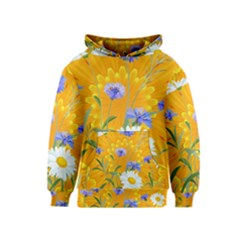 Flowers Daisy Floral Yellow Blue Kids  Pullover Hoodie